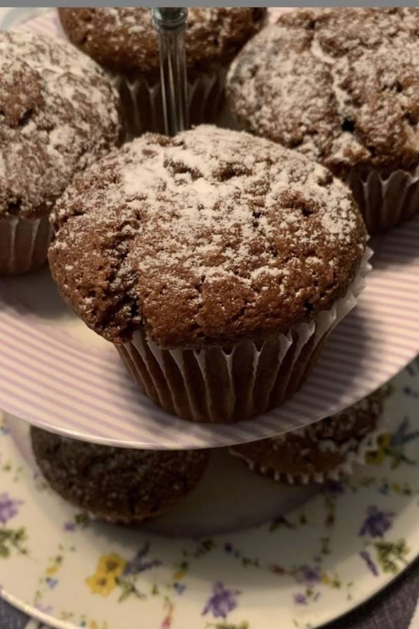 muffins de chocolate y almendras