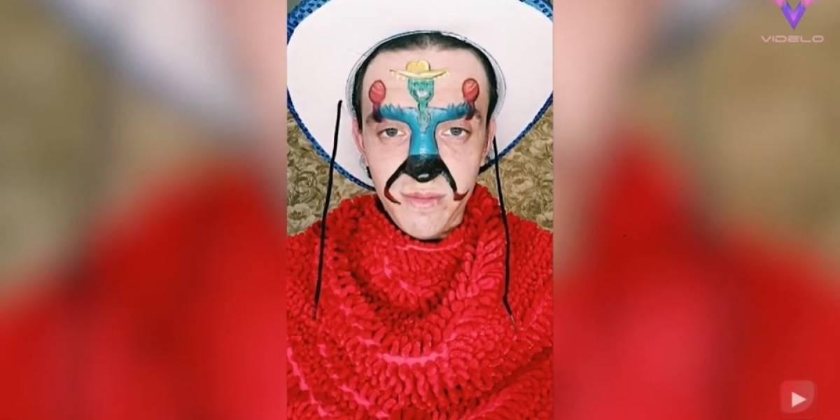 Desconecta.- Este hombre hace que los personajes pintados en su cara cobren vida utilizando sus expresiones para hacerlos bailar