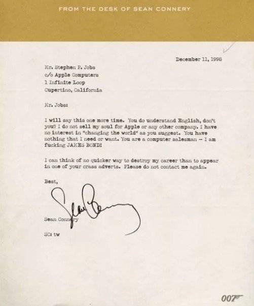 Carta falsa de Sean Connery a Steve Jobs.
