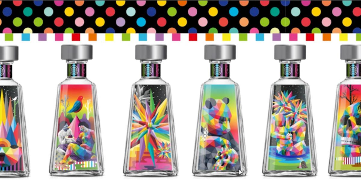 El color y el surrealismo pop son plasmados en botellas de tequila