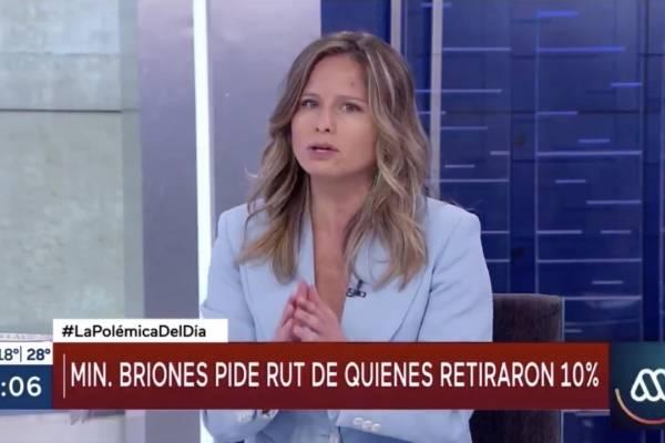 """Soledad Onetto defiende petición de datos del ministro Briones: """"Si hoy el RUT te lo piden en cualquier parte"""""""