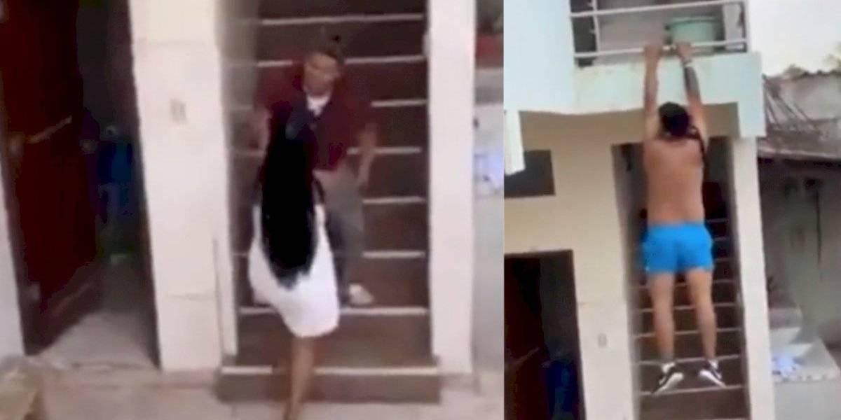Captan a amante de mujer infiel huyendo del hogar al llegar la pareja, al estilo película viral