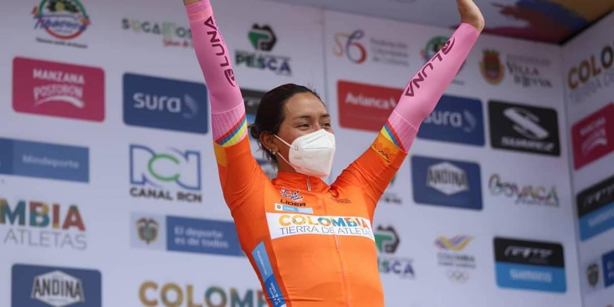 Miryam Núñez rompe en llanto tras ganar la segunda etapa de la Vuelta Femenina a Colombia y lidera la clasificación general