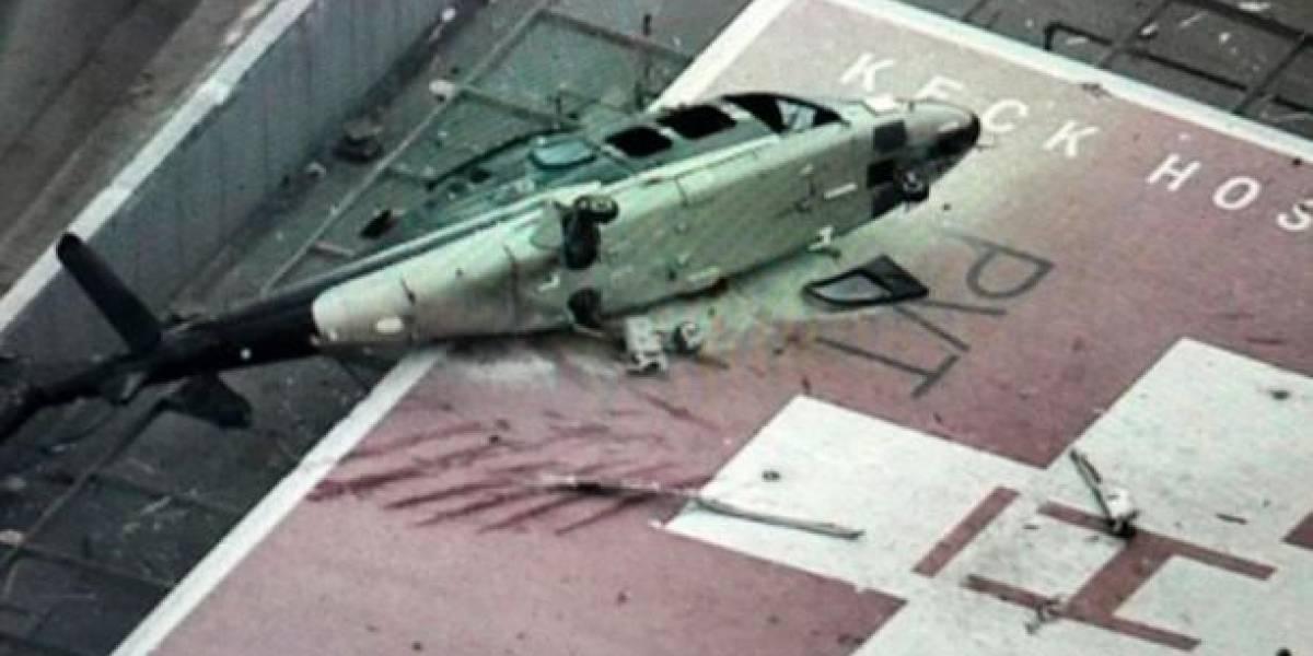 (VIDEO) Momento de pánico se vivió tras un accidente aéreo de un helicóptero que transportaba un corazón