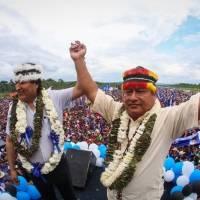 Jaime Vargas y Andrés Arauz con Evo Morales durante su regreso a Bolivia