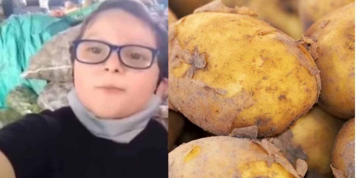 Niño se vuelve viral por su ternura y buenas razones al promover la compra de papa a los campesinos