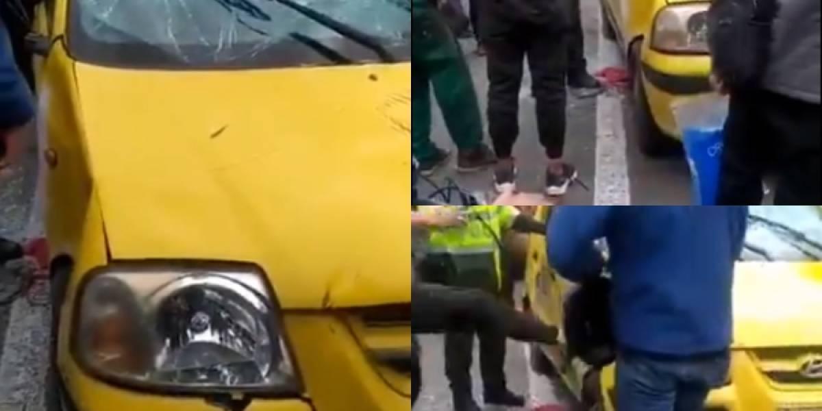 A golpes, comunidad atacó taxi en el que iban a escapar dos presuntos ladrones de celulares