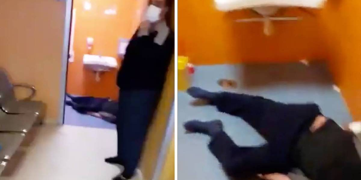 Imágenes sensibles: Conmoción en Italia por la muerte de un hombre en el baño de un hospital