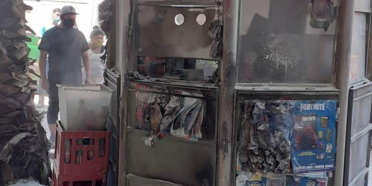 Hombre incendia quiosco en Melipilla con un hombre en su interior: víctima resultó con lesiones