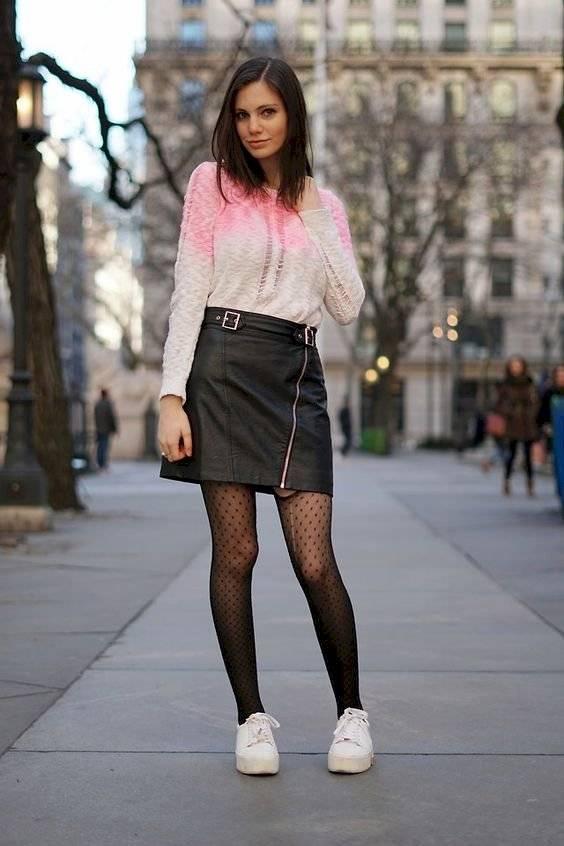 outfits de falda y medias