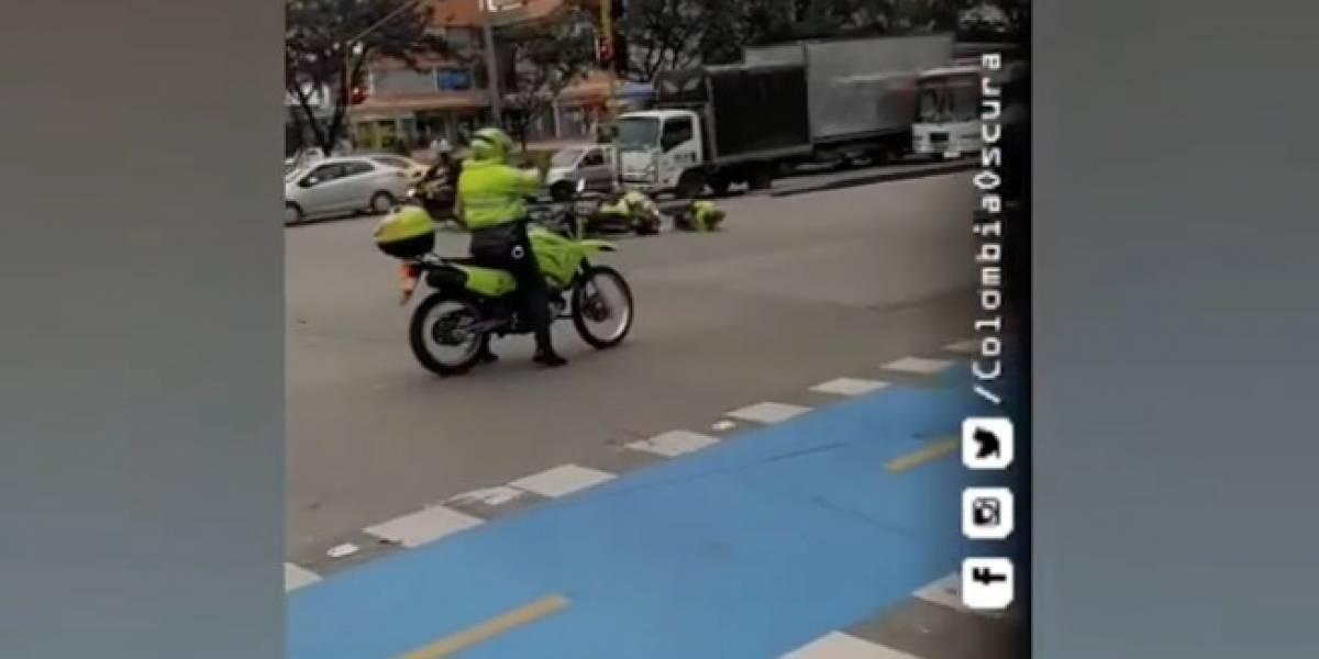 El tremendo accidente de dos motos de Policía