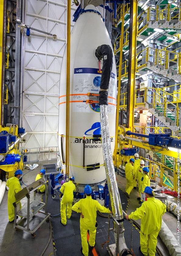 El cohete Vega antes de su lanzamiento.