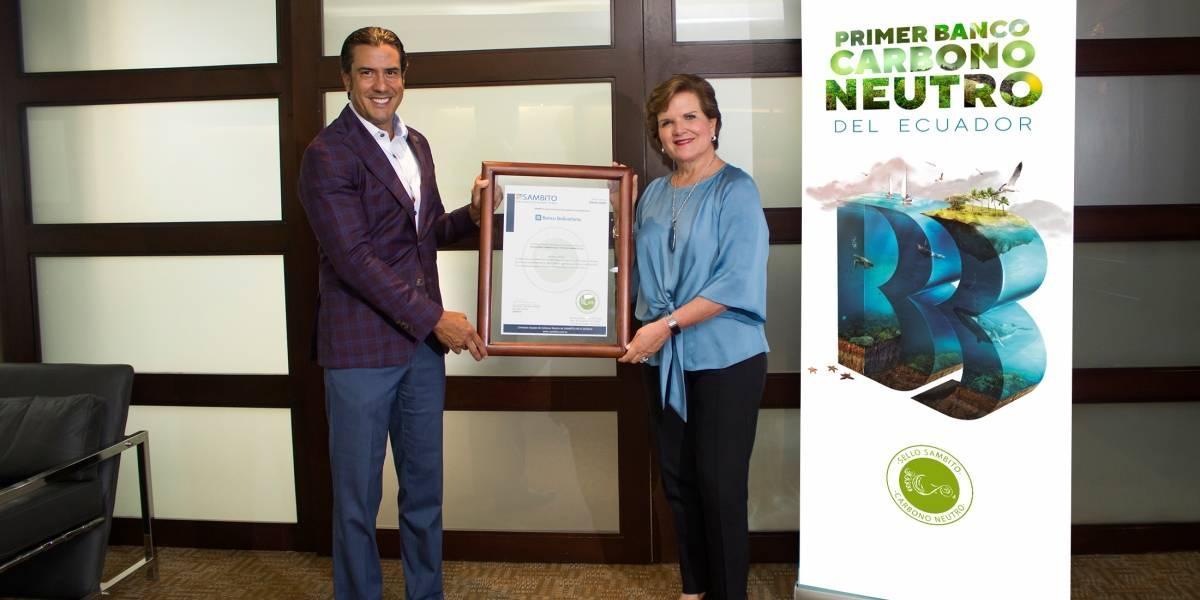 Banco Bolivariano, primer banco carbono neutro del país, renueva su certificación ambiental Sambito