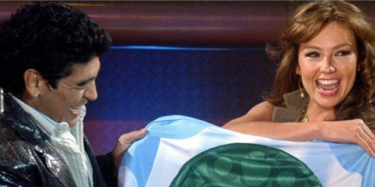 Las fotos de Thalía y Maradona juntos que salieron a la luz tras su muerte