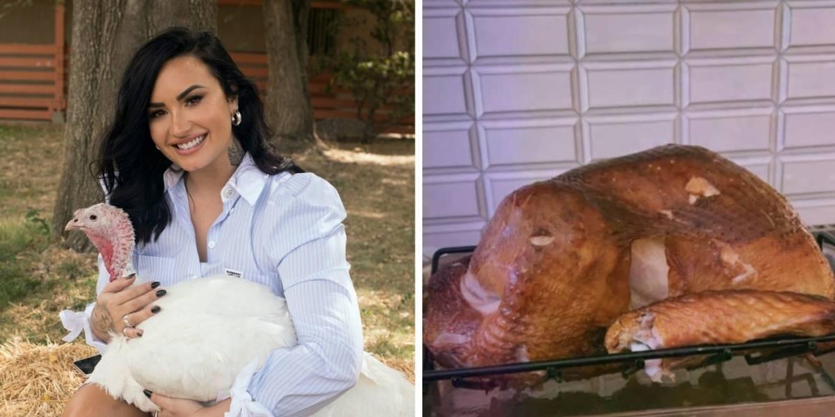 Pide que adopten a un pavo y luego lo presume horneado:  la incongruencia animalista de Demi Lovato que causó polémica en redes