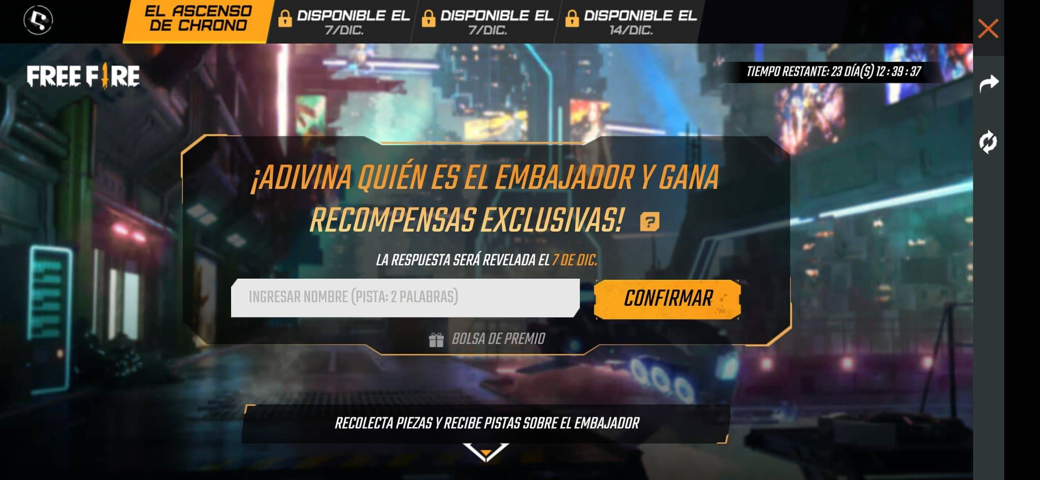 Free Fire embajador secreto