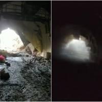 ¡Por un pelo! Obreros casi quedan atrapados por derrumbe en Colombia