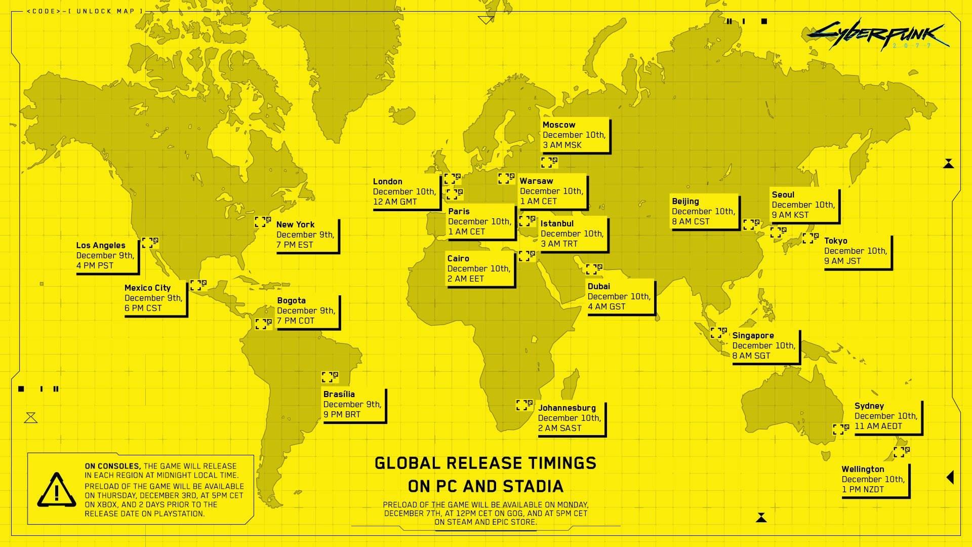 Cyberpunk 2077 mapa de lanzamiento