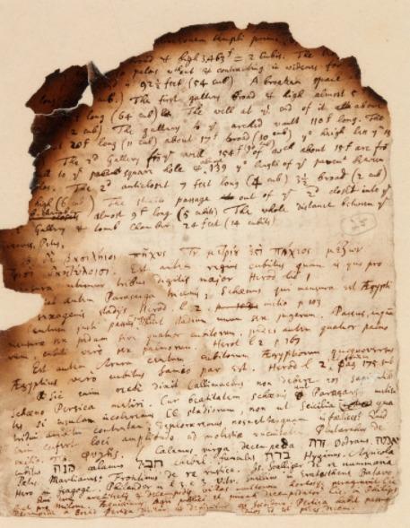 Manuscrito de Isaac Newton.