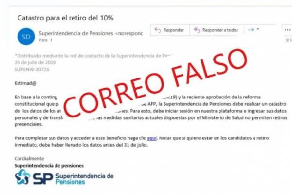 Segundo retiro del 10%: la advertencia de la Superintendencia de Pensiones por correo falso