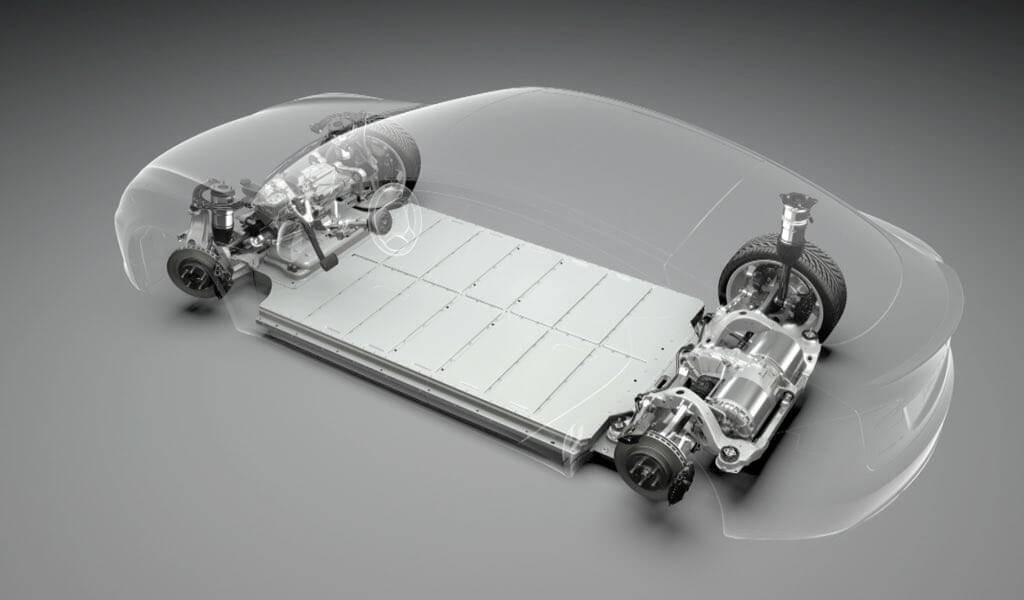 Ilustración de la batería en un Tesla