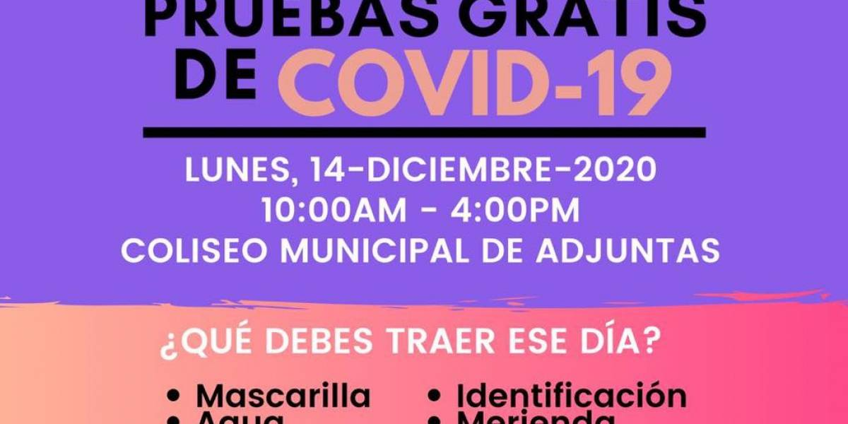 Municipio de Adjuntas ofrece pruebas gratuitas de COVID-19