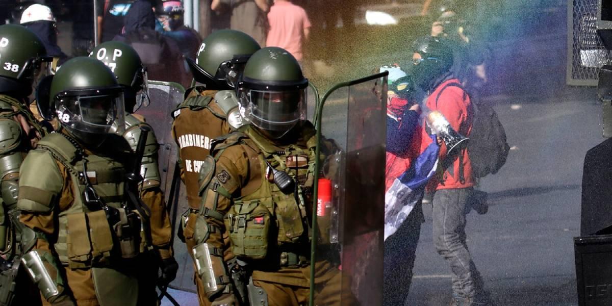 Nueva jornada de enfrentamientos en Santiago vuelve a cortar el tránsito en la Alameda