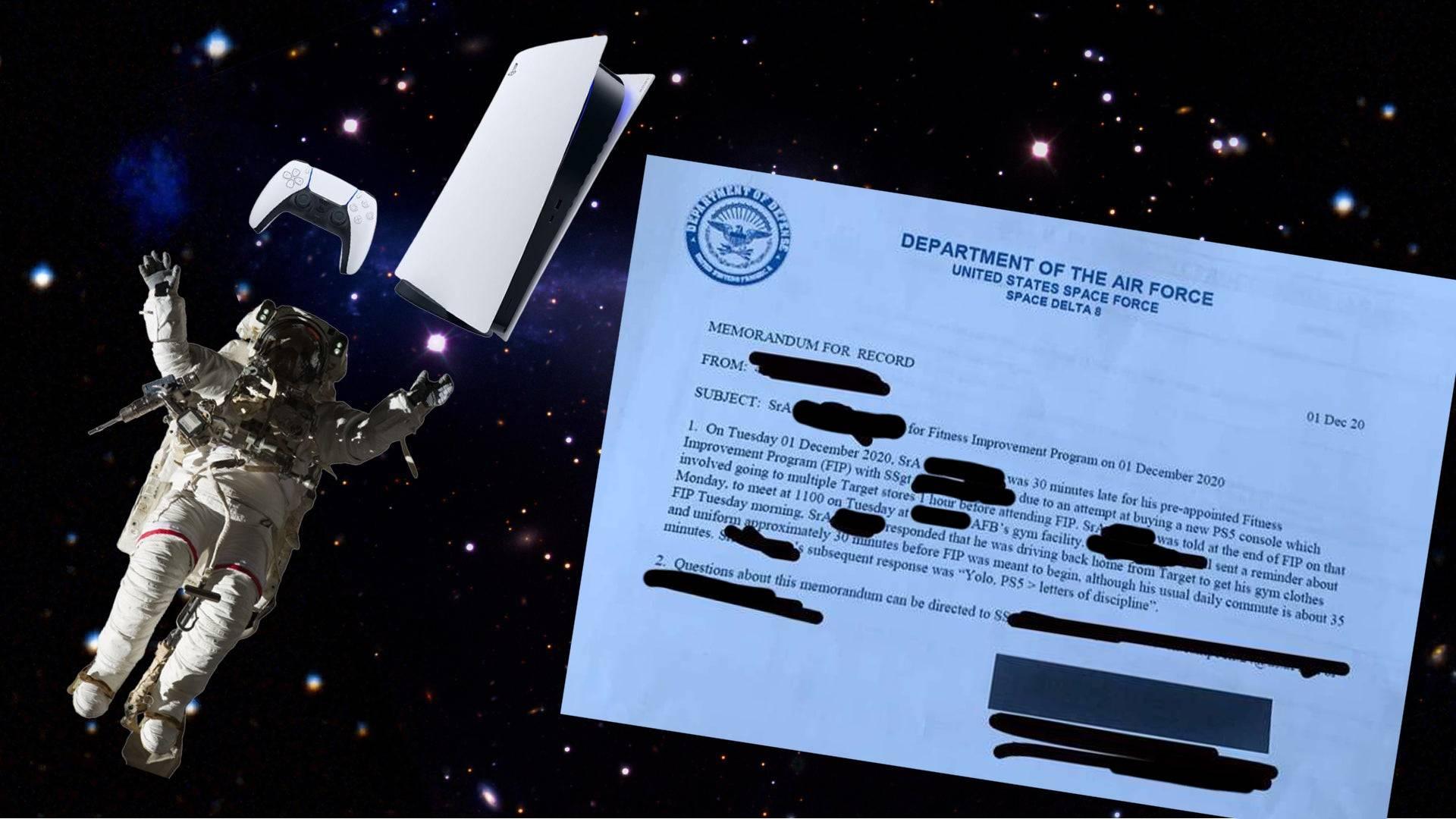 Memorándum de la Fuerza Espacial al piloto por la compra del PlayStation 5.