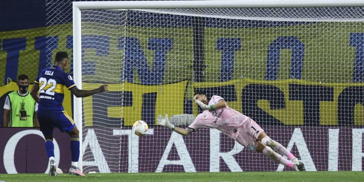 Gabriel Arias no pudo salvar a Racing en la derrota ante Boca Juniors en la Copa Libertadores