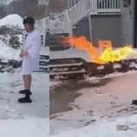 ¡Adiós a las palas! Hombre saca su lanzallamas y derrite la nieve de su casa