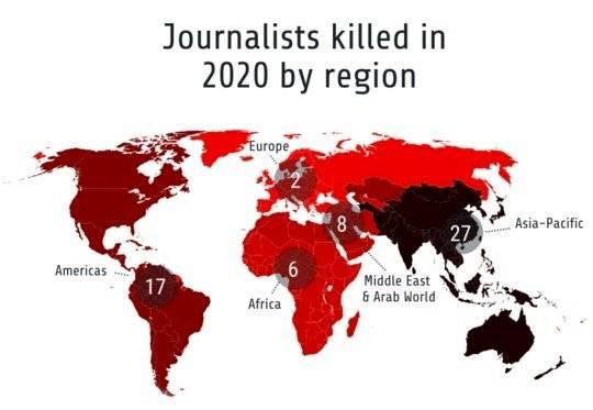 Mapa de periodistas asesinados en 2020, por región