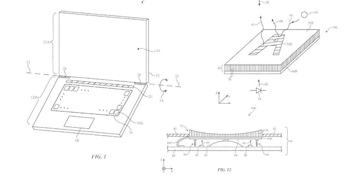 Se filtra una patente ambiciosa de Apple con el diseño de un teclado capaz de cambiar su función y forma poniendo un display en cada tecla.