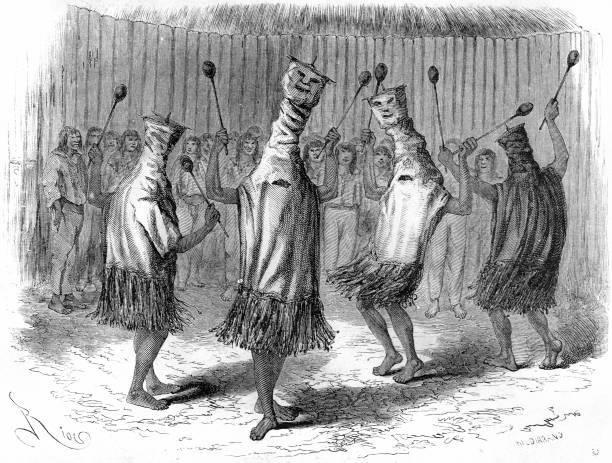 Tribus indígenas del Brasil en un grabado antiguo.