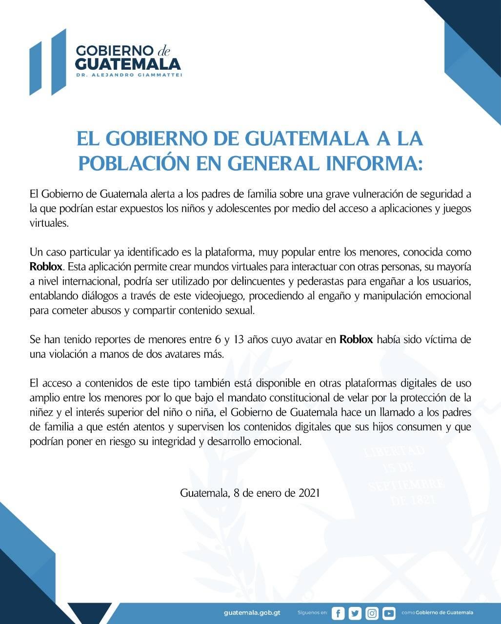 Roblox Gobierno de Guatemala