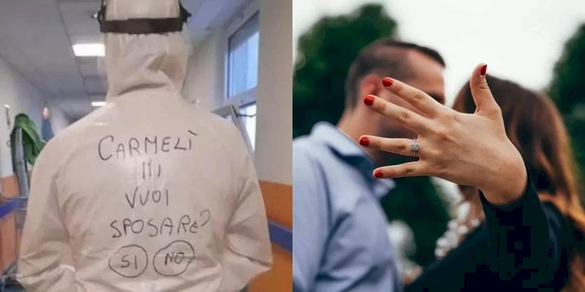 Enfermero pide matrimonio a su novia con un traje anticovid