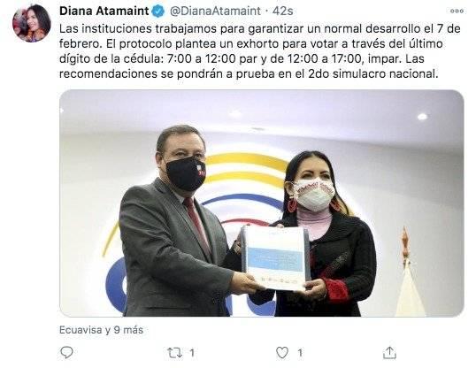 Diana Atamaint, presidenta del CNE