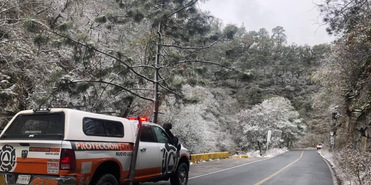 Cae primera nevada del 2021 en Nuevo León