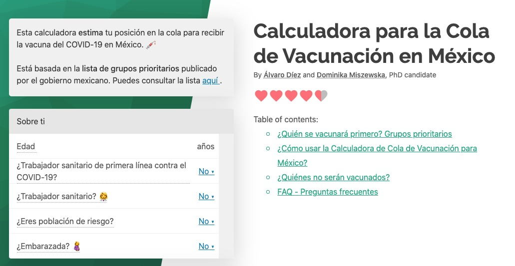COVID-19 vacuna México calculadora