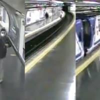 ¡De último momento! Policía salva a hombre de ser arrollado por el Metro en Madrid