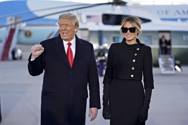 Donald Trump y Melania Trump en su último día en el poder en Estados Unidos.