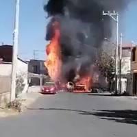 Reportan incendio de pipa de gas en Chalco; quemó dos casas y tres vehículos