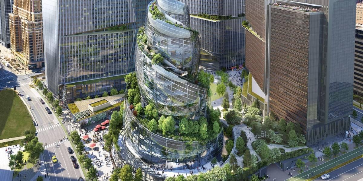 Amazon revela su nueva torre de oficinas en forma de hélice
