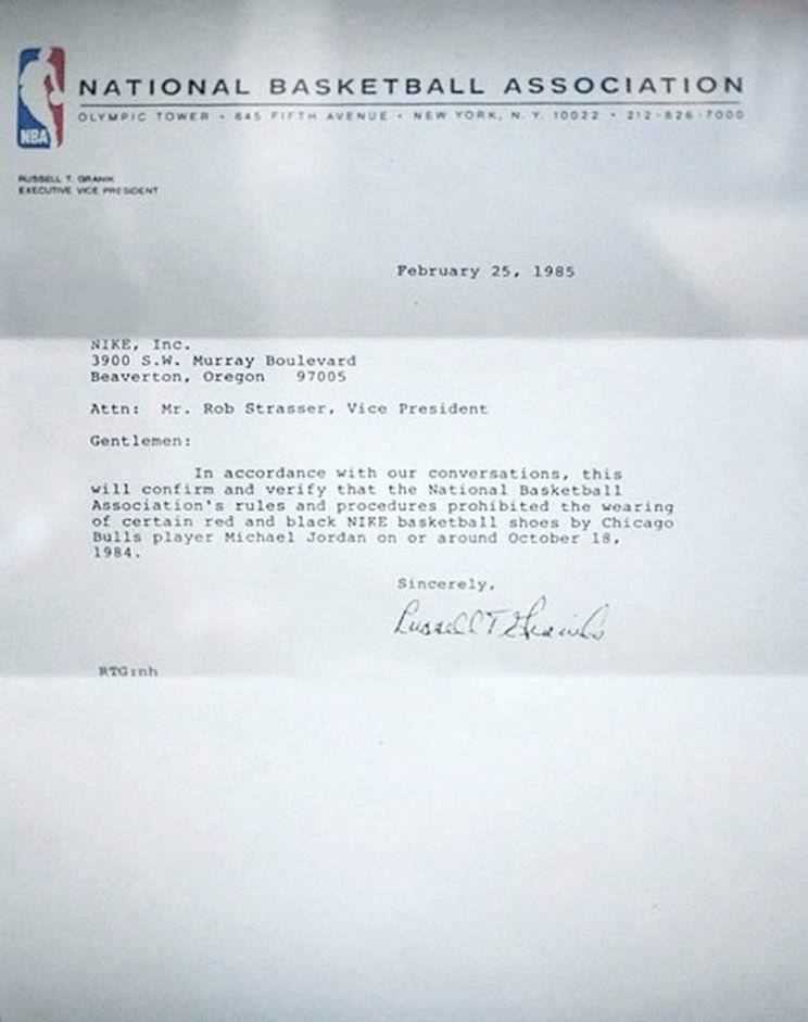 Memorando de la NBA para Nike.