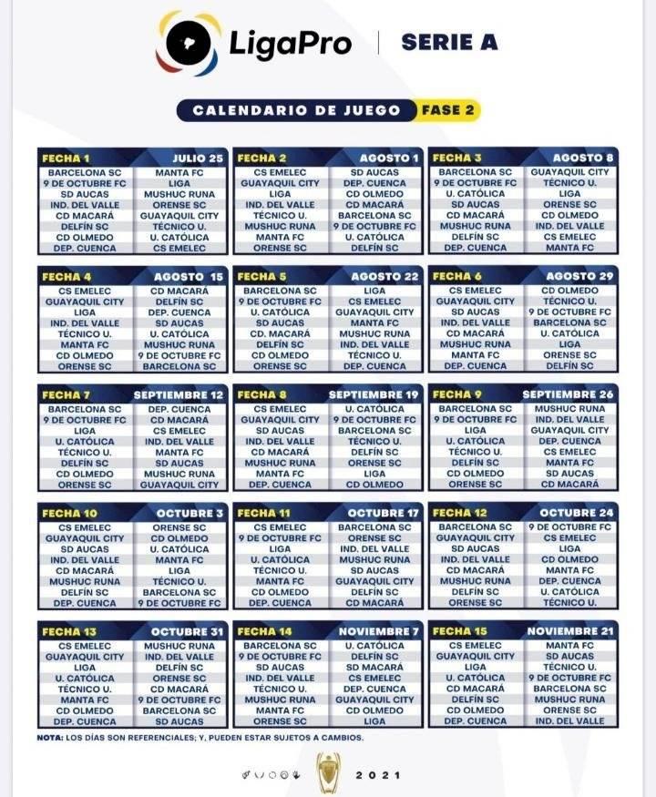 Revisa el calendario de la Liga Pro 2021 - Captura de Pantalla