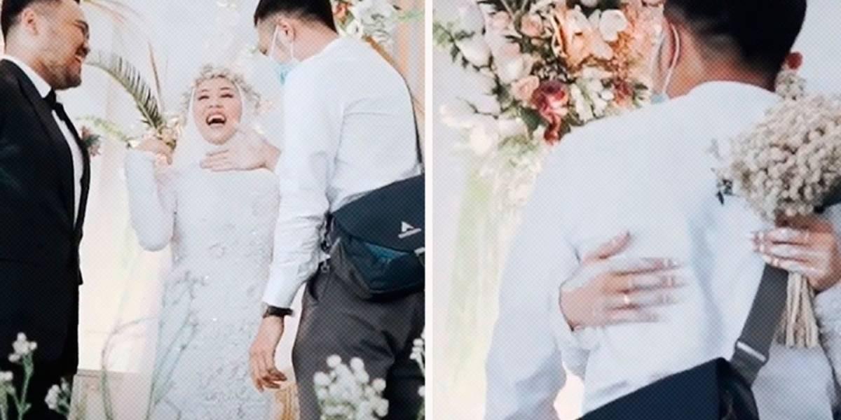 Pide permiso a su esposo durante la boda para abrazar a su exnovio