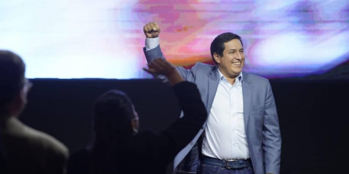 Andrés Arauz reacciona a los resultados de las encuestas a boca de urna