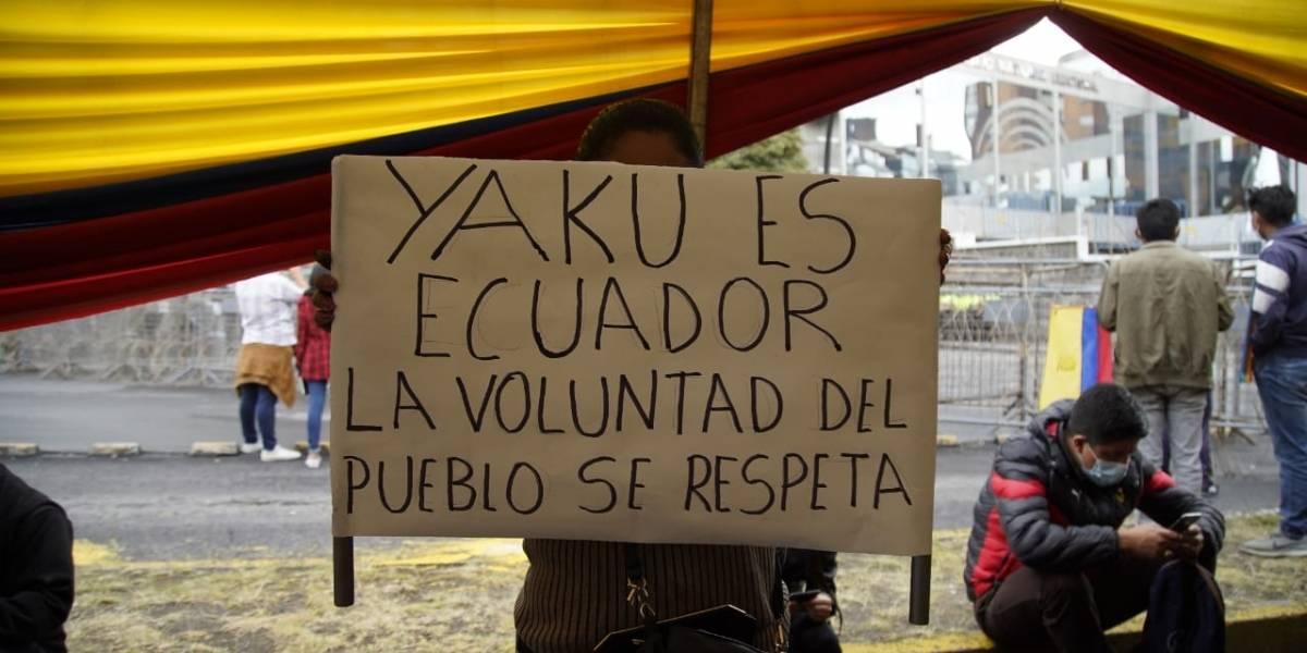 Simpatizantes de Yaku Pérez se mantienen en vigilia en exteriores del CNE Guayas y Quito ante reconteo de votos