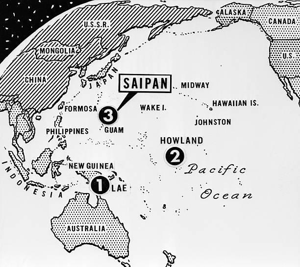 Mapa de la época que muestra la ruta final de Earhart.