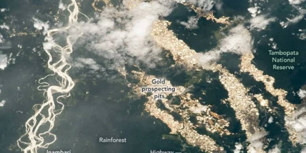 Incrível: astronauta tira foto mostrando rios de ouro na Amazônia peruana