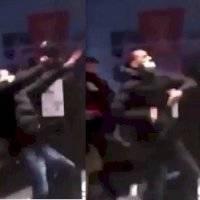 ¡Qué golpe! Manifestante confunde la salida y choca contra escaparate en Barcelona